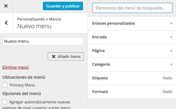 agregar menus wordpress