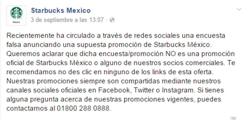 Comunicado Starbucks México