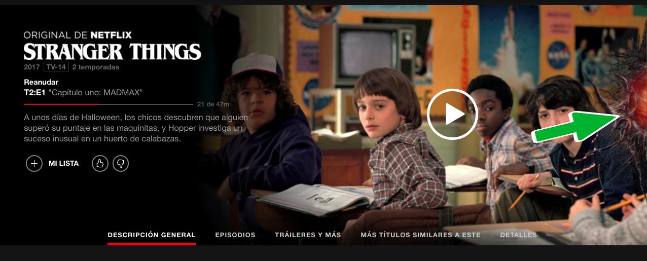 Stranger Things tiene un easter egg en la pagina de Netflix
