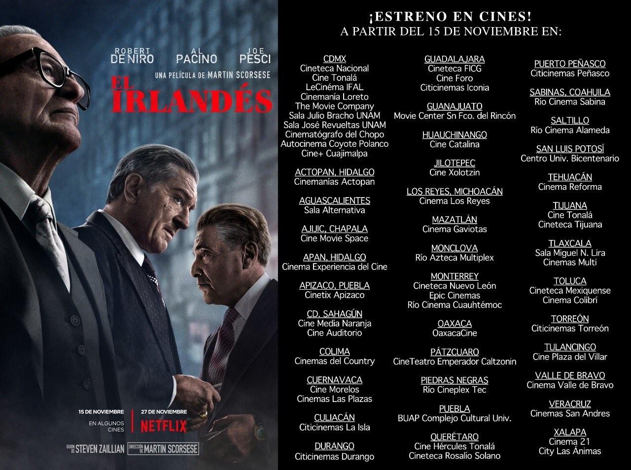 La lista completa de los cines en donde podrás ver The Irishman