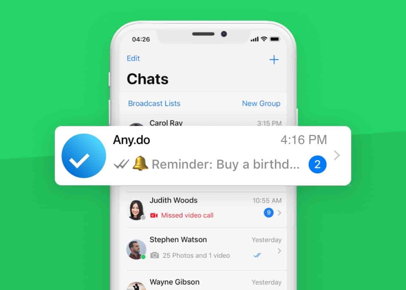 WhatsApp ahora permite crear notas y recordatorios