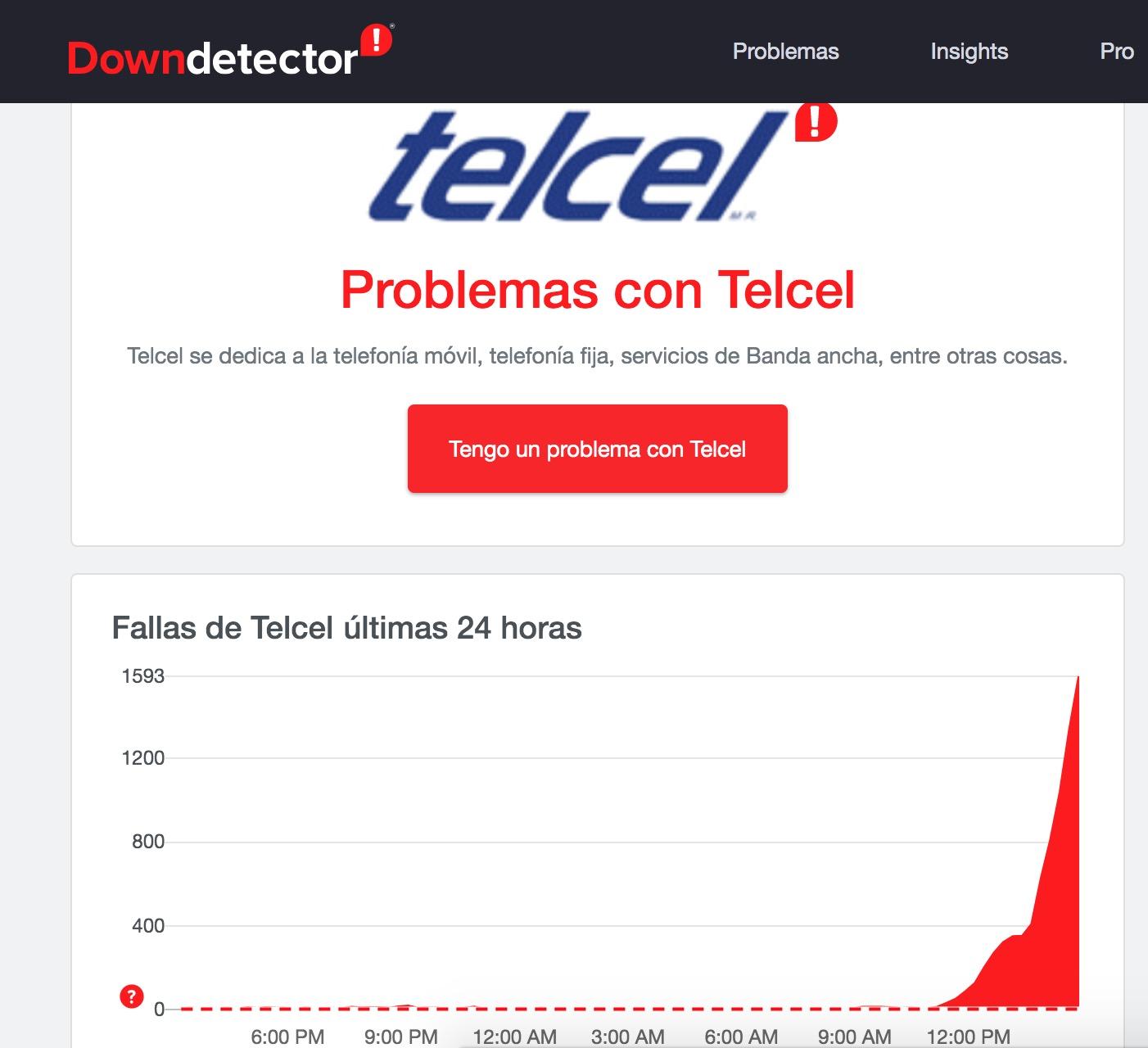 Usuarios reportan fallas en la red de Telcel a lo largo de México