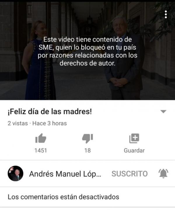 """YouTube bloquea video de AMLO """"por derechos de autor"""" 2"""
