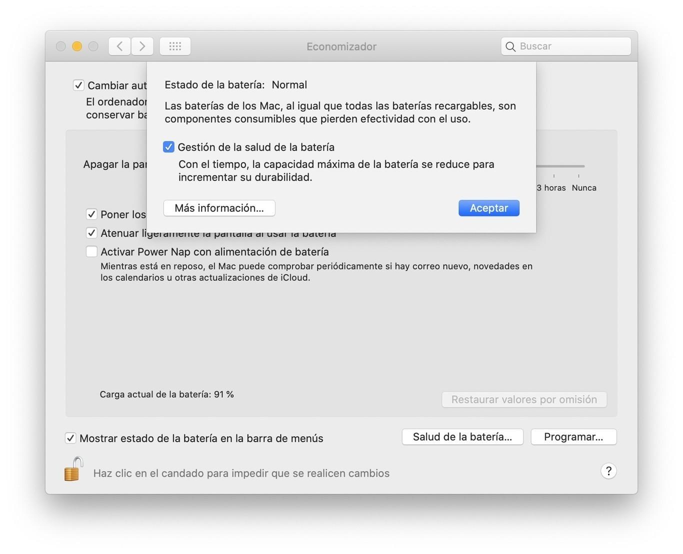 Activa la gestión de batería en tu MacBook para maximizar su vida útil
