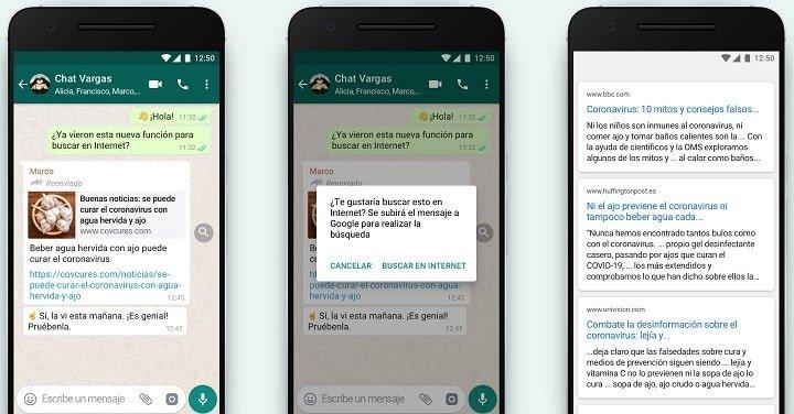 WhatsApp permite comprobar la veracidad de los mensajes reenviados