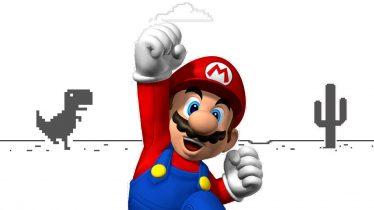 Cambia al dinosaurio del juego de Google Chrome por Mario Bros.