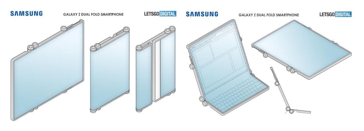 Samsung patenta un smartphone plegable con doble bisagra
