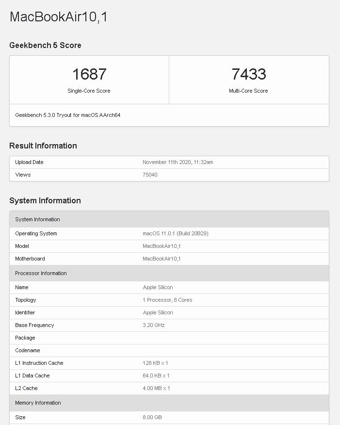 El nuevo chip M1 de Apple vence al Intel Core i9 en pruebas de Geekbench