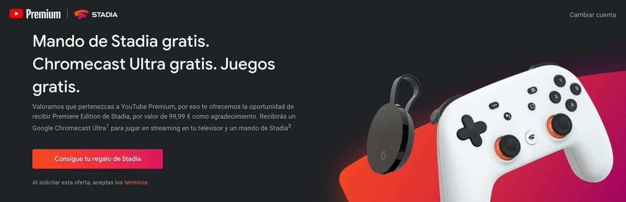 Google regala Chromecast Ultra y mando de Stadia por tener YouTube Premium