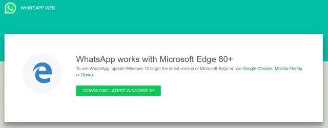WhatsApp Web ya no será compatible con estos navegadores en 2021