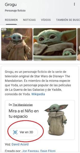 Baby Yoda llega a tu casa con la realidad aumentada de Google 2