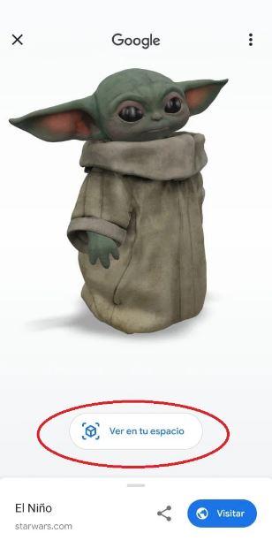 Baby Yoda llega a tu casa con la realidad aumentada de Google 3