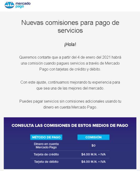 Mercado Pago cobrará una comisión en pagos de servicios con tarjeta